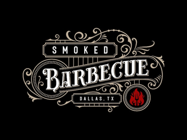 Barbecue barbeque bbq bar and grill vintage ornamental lettering logo design