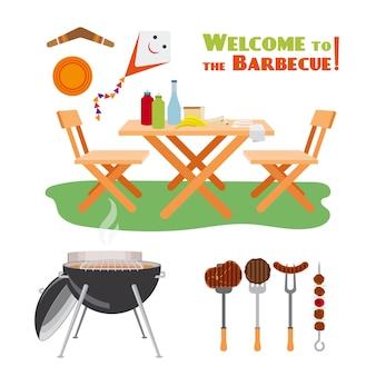 バーベキューバーベキューポスター要素。肉とグリル、ソーセージと料理。ベクトルイラスト