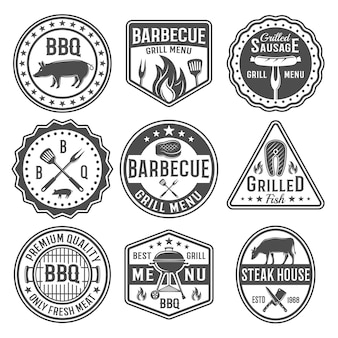 Barbecue black white emblems