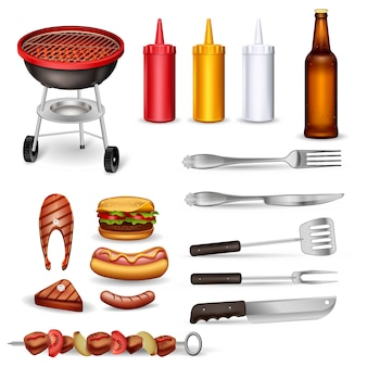 Barbecue decorative icons set