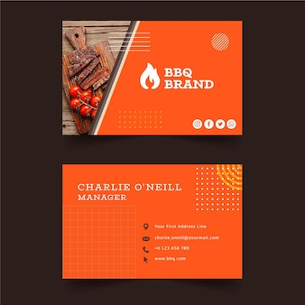 Barbecue double-sided horizontal business card template