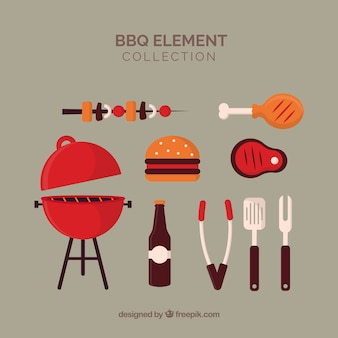 Barbecue elements collection in flat style