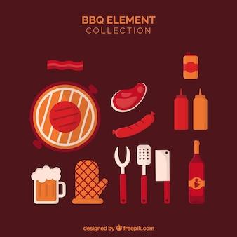 Коллекция элементов для барбекю в плоском стиле