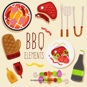 Коллекция элементов для барбекю в ручном стиле