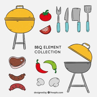 Barbecue elements collection to cook