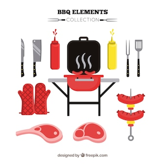Collezione di elementi per barbecue
