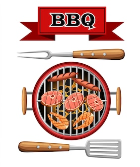 Barbecue  elements grill top view burning coals bbq picnic cooking device with meat fish and sausages  illustration  on white background web site page and mobile app