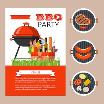 Barbecue, finest beef. barbecue set, vector clip art in flat style. big appetizing beef steak, vegetables, basil, lemon. vector illustration with space for text.