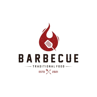 Barbecue fire logo template