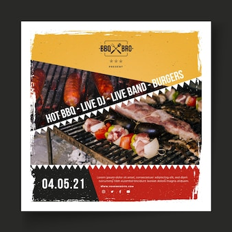 Barbecue flyer square template