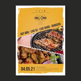Barbecue flyer vertical template