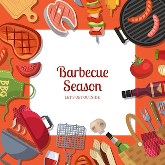Barbecue or grill cooking theme with place for text.