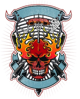 Barbecue grill flaming skull artwork for barbecue club apparel or sticker