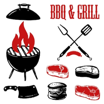 Barbecue and grill. grilled meat with fork and kitchen spatula on grunge background.  elements for poster, emblem, sign.  illustration