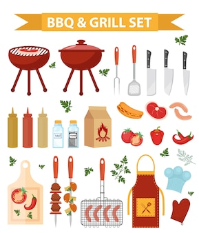 Barbecue and grill icons set, flat or cartoon style. bbq collection of objects, elements of design. isolated on white background. illustration.
