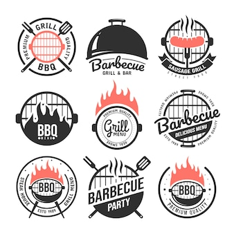 Barbecue and grill labels set.