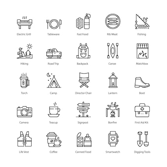 Barbecue and grill line icons set