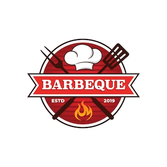 Barbecue grill logo template