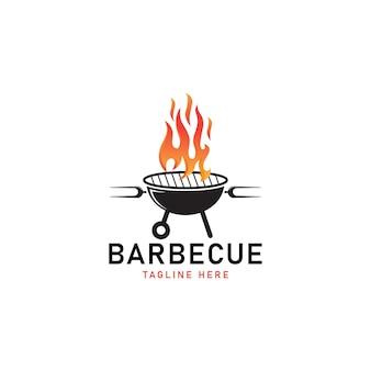 Barbecue grill logo vector illustration
