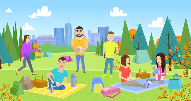 Barbecue grill, picnicking happy lifestyle park together.