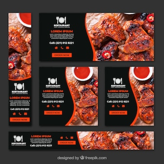 Barbecue grill restaurant banner collection with photos