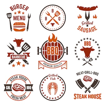 Barbecue and grill set of labels, badges or emblems isolated on white background