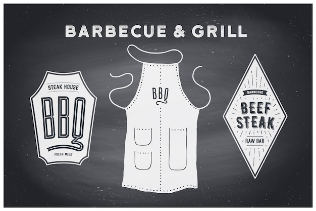 Barbecue, grill set. poster bbq diagram and scheme - barbecue grill tools. set of bbq stuff, apron, brand label, logo of steak grill house. black chalkboard, hand drawn, chalk.  illustration