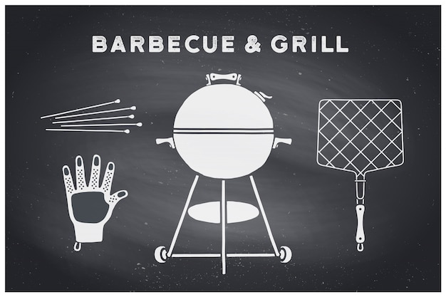 Barbecue, grill set. poster bbq diagram and scheme - barbecue grill tools. set of bbq stuff, webber grill, tools for steak house, restaurant. black chalkboard, hand drawn, chalk.  illustration