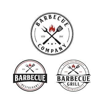 Barbecue grill, steak house vintage logo design