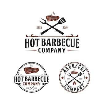 Barbecue grill, steak house vintage logo design