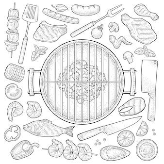 Барбекю гриль вид сверху уголь, шашлык, грибы, помидор, перец, стейк