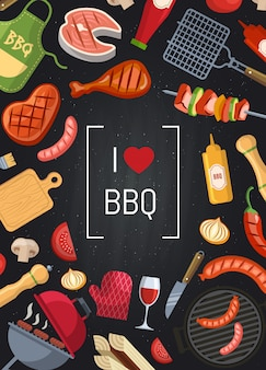 Barbecue or grill with coking elements on chalkboard