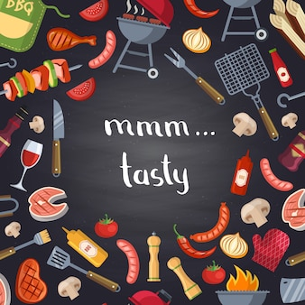 Barbecue or grill with cooking elements on chalkboard.