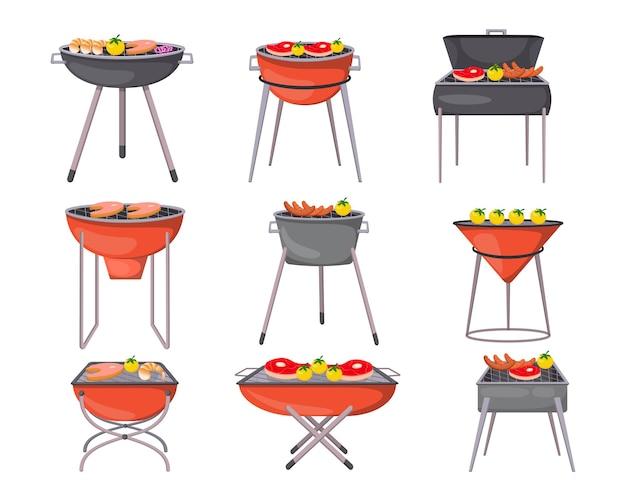 Barbecue grills cartoon illustration