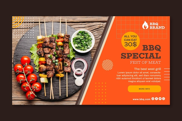Barbecue horizontal banner template