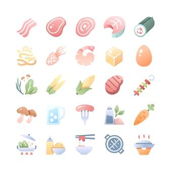 Barbecue and hot pot  icons set