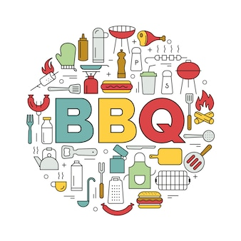 Barbecue icons in circle. icon line style