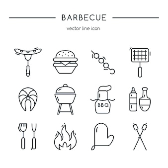 Barbecue icons line set