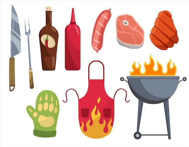 Символы барбекю. набор элементов для гриля. шашлык, мясо, лоза, перчатки, вилка. все готово для семейного праздника.