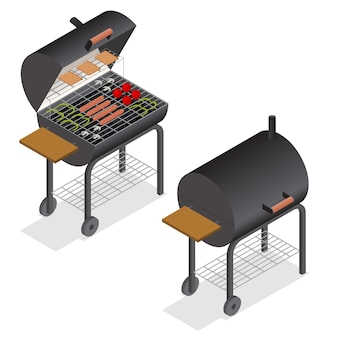 Barbecue isometric view charcoal kettle grill