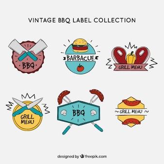 Collezione di etichette di barbecue in stlyle d'epoca