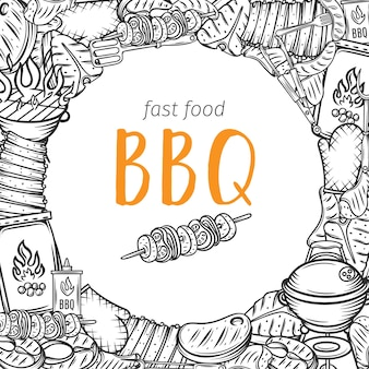 肉、鶏肉、魚、ソーセージ、道具の輪郭を描いたバーベキューレイアウトバーベキューパーティー。火の食べ物