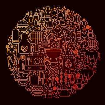 バーベキューラインアイコンサークルコンセプト。グリルメニューオブジェクトのベクトルイラスト。