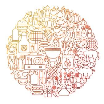 バーベキューラインアイコンサークルデザイン。グリルメニューのアウトラインオブジェクトのベクトル図です。