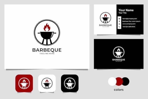 バーベキューのロゴのデザインと名刺