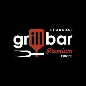 Дизайн логотипа барбекю гриль бар текст дым мясо ресторане