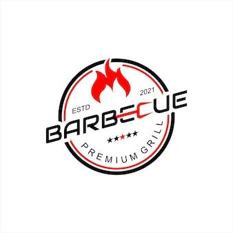 Дизайн логотипа барбекю гриль дым мясо вкусная еда