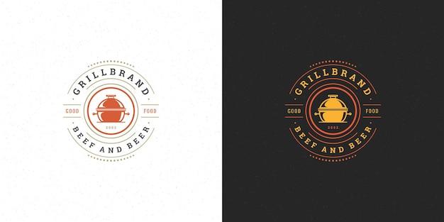 그릴 실루엣이있는 스테이크 하우스 또는 바베큐 레스토랑의 바베큐 로고