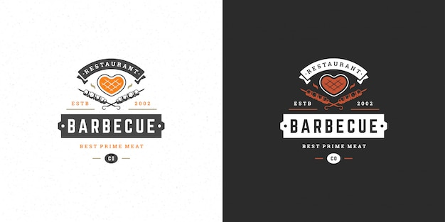 Barbecue logo   grill house or bbq restaurant menu  meat steak silhouette