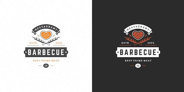 Барбекю логотип гриль-хаус или меню ресторана барбекю мясо стейк силуэт
